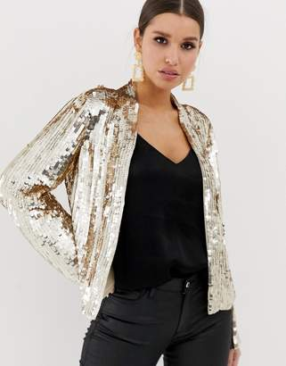 Asos Design DESIGN long sleeve open blouse in sequin