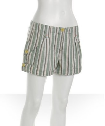 Charlotte Ronson leaf embroidered stripe cotton shorts