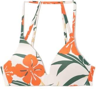 Vince Camuto Tropical-print Molded Bikini Top