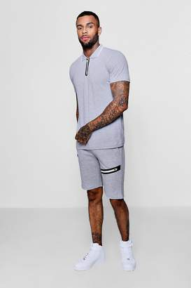boohoo Sports Zip Polo and Slim Mid Length Shorts Set