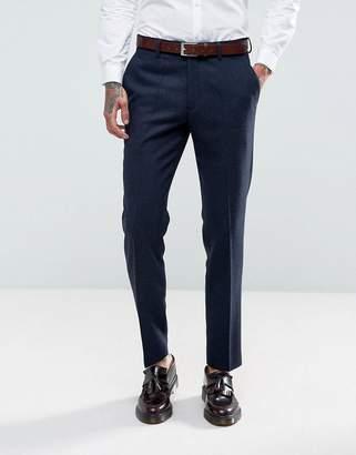 Gianni Feraud Slim Fit Navy Herringbone Suit Pants