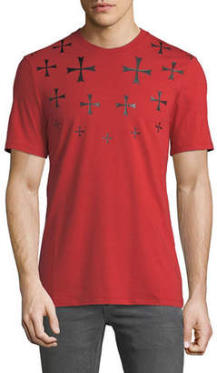 Neil Barrett Men's Fair Isle Military Star Crewneck Short-Sleeve Cotton T-Shirt