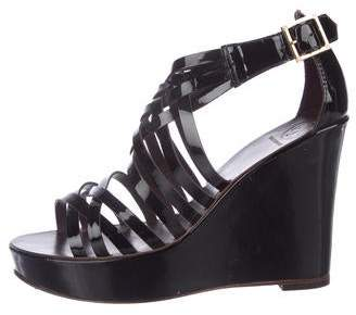 Tory Burch Patent Leather Caged Wedges