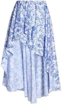 Caroline Constas Ruffle-Trimmed Printed Cotton-Blend Midi Skirt