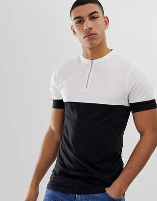 ONLY & SONS Color Block T-Shirt With 1/4 Zip Neck