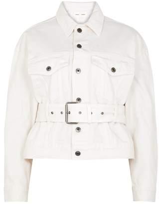 Proenza Schouler Cream Distressed Denim Jacket