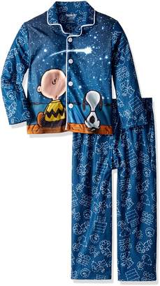 Peanuts Big Boys' Galaxy Coat Style Pajama Set