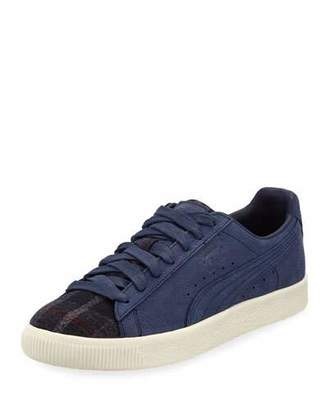 Puma Men's Clyde Plaid/Suede Low-Top Sneakers