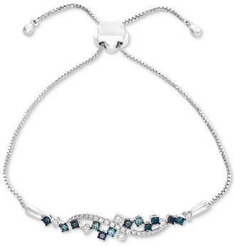 Effy Shades of Bleu Diamond Cluster Slider Bracelet (3/4 ct. t.w.) in 14k White Gold