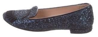 Chiara Ferragni Embroidered Glitter Loafers