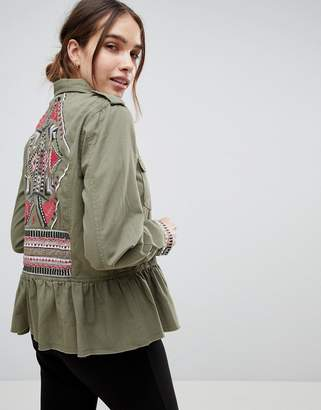 B.young Embroidered Peplum Hem Military Jacket