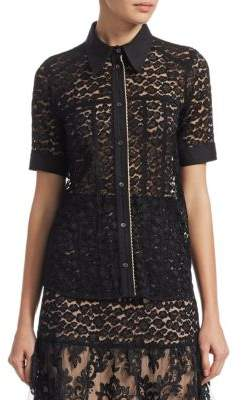 No.21 No. 21 Short-Sleeve Sheer Lace Shirt