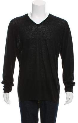 John Varvatos Leather Trimmed V-Neck Sweater