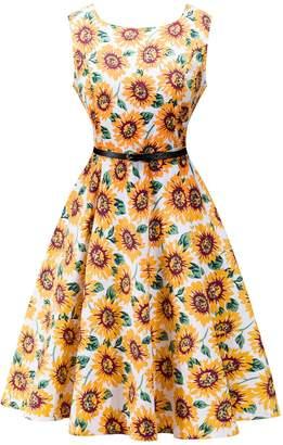 FEOYA Women's Print Round Neck Sleeveless Floral 1950s Dress (, M)