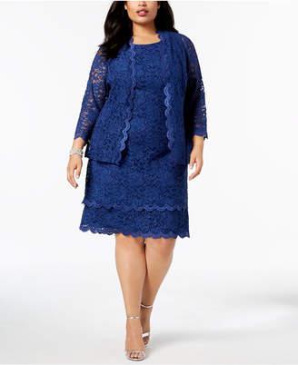R & M Richards Plus Size Glitter Lace Sheath Dress & Jacket