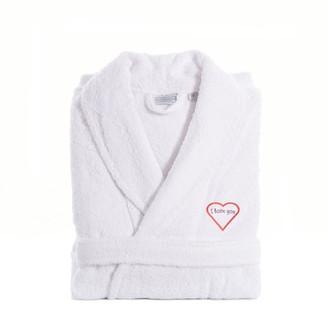 "Linum Home Textiles ""I Love You"" Embroidered Cotton Terry Bathrobe"