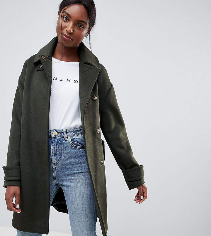 ASOS Tall ASOS DESIGN Tall coat in twill with buckle neck