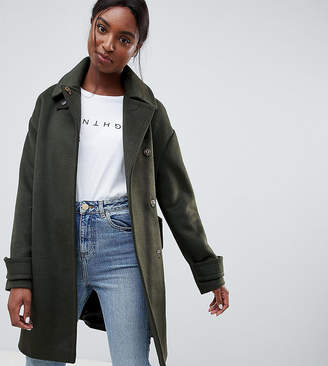 Asos Tall DESIGN Tall coat in twill with buckle neck