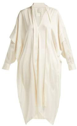 Maison Rabih Kayrouz Tie Neck Draped Satin Tunic - Womens - Ivory