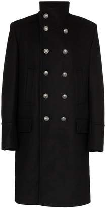 Balmain double breasted wool cashmere-blend military coat