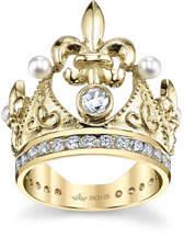 575 Denim Cynthia Bach 18k Fleur-de-Lis Diamond & Pearl Crown Ring, Size