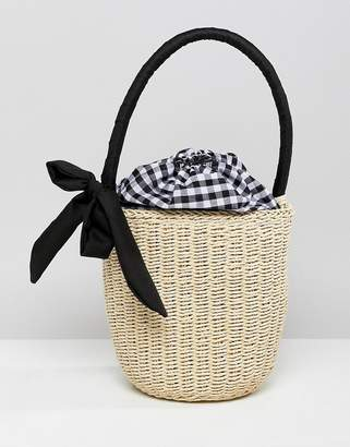 Asos Design DESIGN Straw Top Handle Basket Bag With Gingham Insert