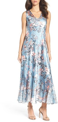 Women's Komarov Charmeuse & Lace Maxi Dress $288 thestylecure.com