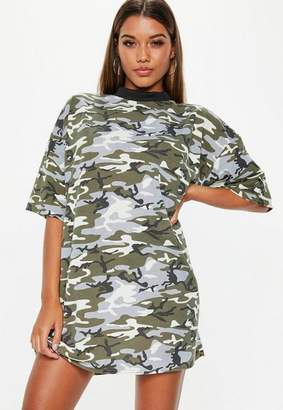 Missguided Green Camo Oversized TShirt Dress