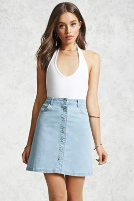 FOREVER 21+ Button-Down Denim Skirt $19.90 thestylecure.com