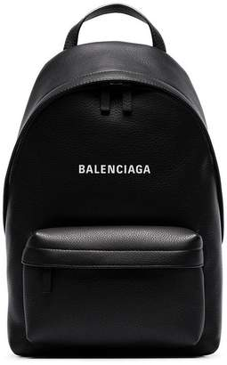 Balenciaga black everyday logo leather backpack