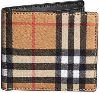 Burberry Vintage Check And Leather International Bifold Coin Wallet
