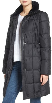 Women's Lauren Ralph Lauren Faux Fur Trim Side Tab Quilted Coat $158 thestylecure.com
