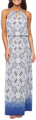 LONDON STYLE Sleeveless Ombre' Medallion Maxi Dress
