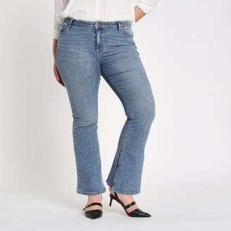 River Island Womens Plus Blue wash high rise flare jeans