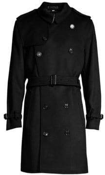 Burberry Men's Kensington Double-Breast Wool Cashmere Trench Coat - Black - Size 44