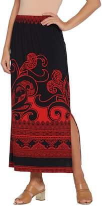 Susan Graver Petite Printed Liquid Knit Maxi Skirt