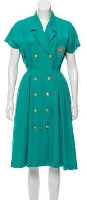 Burberry Notch-Lapel Midi Dress Teal Notch-Lapel Midi Dress