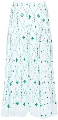 Sandro Embroidered Pleated Midi Skirt