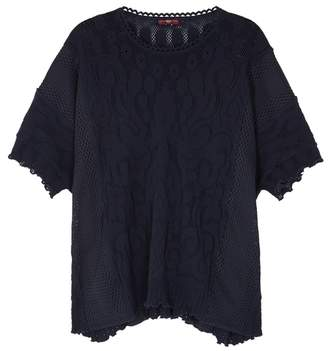 High Devotee Navy Stretch Lace Top