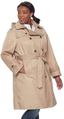 London Fog Tower By Plus Size TOWER by Hooded Trench Coat