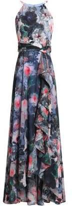 Badgley Mischka Ruffled Floral-Print Crepe De Chine Gown