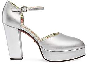Gucci Women's Agon Leather Mary Jane Pumps - Silver