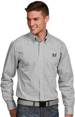 Antigua Men's Milwaukee Brewers Associate Plaid Button-Down Shirt