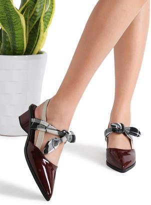 Shein Burgundy Plaid Tie Patent Leather Chunky Heel Pumps