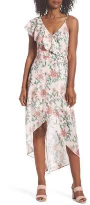 Adelyn Rae Hannah Asymmetric Ruffle Midi Dress