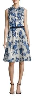 Belted Floral-Print Shirtdress
