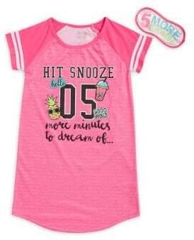 SLEEP ON IT Girl's Graphic Dolman-Sleeve Sleepshirt & Matching Eyemask