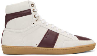 Saint Laurent White and Burgundy Court Classic SL/10 High-Top Sneakers