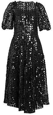 Simone Rocha Women's Sequin Puff-Sleeve Midi Dress