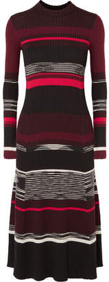 Proenza Schouler Striped Ribbed Wool, Silk And Cashmere-blend Dress - Black